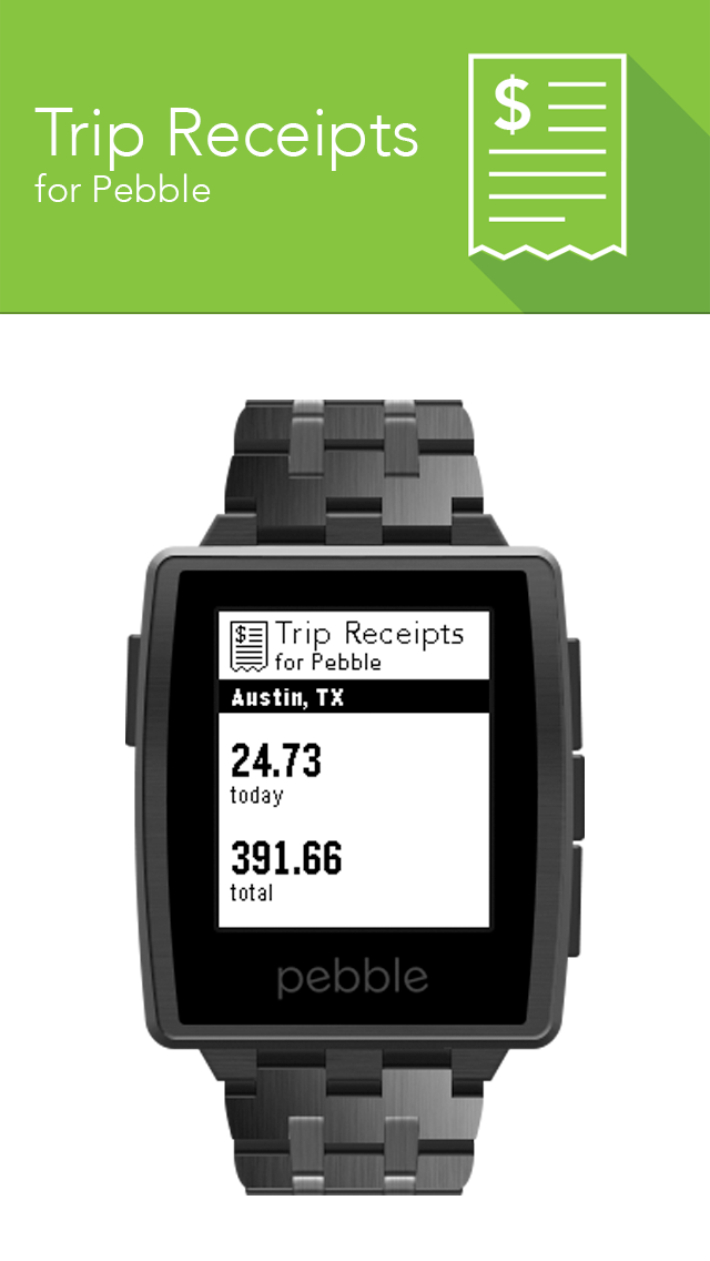 Trip Receipts on the Pebble Watch